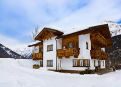 Hotel at mountains - ski resort Solden Austria - stock photo