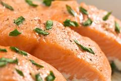 baked salmon in casserole - stock photo
