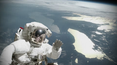 Astronaut waves - television distortion effect Stock Footage