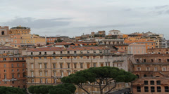 View over Rome from Vittoriano with Pan Stock Footage