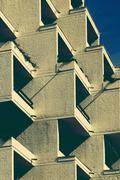 Germany, Lower Saxony, Hameln, Hotel, Balconies, cubistic Stock Photos
