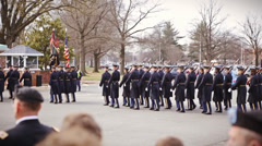 Soldiers marching in slow motion at military funeral, Arlington Cemetery - stock footage