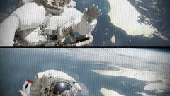 Astronaut waving with TV distortion effect Stock Footage