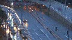 Timelapse traffic street car pass freeway highway dusk night light Washington Stock Footage