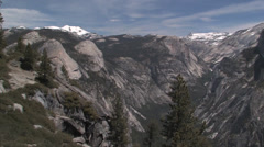 Yosemite Valley including Half Dome and waterfalls in Yosemite National Park Stock Footage