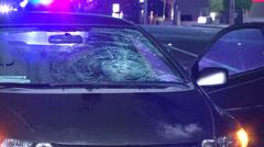 Smashed windshield following car crash. Stock Footage