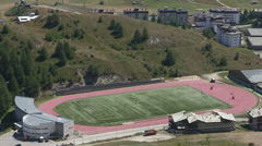 Soccer field in the mountains Stock Footage