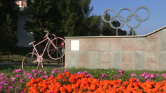 Winter Olympics monument Stock Footage