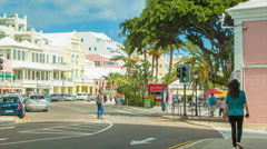 People and Vehicles on Front Street in Hamilton, Bermuda Stock Footage