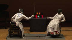 Wheelchair fencing match - stock footage