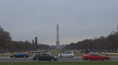 Washington DC Obelisk Monument National Mall tourist travel commuter visit USA  Stock Footage