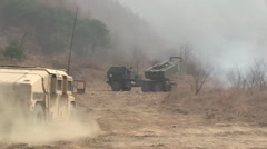 Rocket Launcher,  High Mobility Artillery Rocket System (HIMARS) Stock Footage