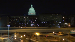 Timelapse Capitol congress dome illuminated light night traffic street freeway  Stock Footage