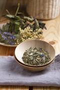Herbal tea, Alkaline tea in a bowl Stock Photos