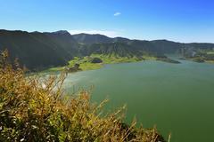 Portugal, Azores, Sao Miguel, View from Caldeira das Sete Cidades to Lagoa Azul - stock photo