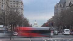 Timelapse traffic car avenue Capitol congress building Washington DC commuter US Stock Footage