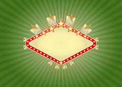 illustration of yellow banner for casino with stars - stock illustration