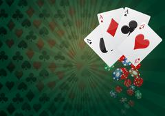 illustration of aces poker with colorful chips casino - stock illustration