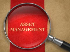 Asset Management. Magnifying Glass on Old Paper. Stock Illustration