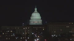 Aerial view Washington DC cityscape night light illuminated capitol white facade Stock Footage
