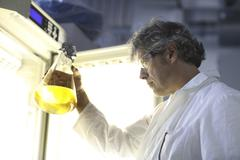 Germany, Freiburg, Scientist in laboratory evaluating samples Stock Photos
