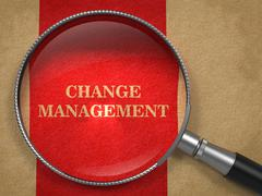 Change Management. Magnifying Glass on Old Paper. - stock illustration