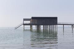 Stock Photo of Austria, Vorarlberg, Lochau, view to pile dwelling at Lake Constance