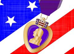 Stock Illustration of flag and purple heart