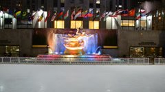 Rockefeller Centre building and the Prometheus statue Stock Footage