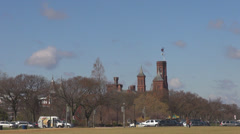 Smithsonian Castle National Mall american building traffic car Washington DC USA Stock Footage