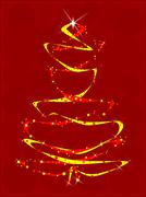 red and yellow ribbon tree - stock illustration