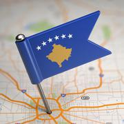 Kosovo Small Flag on a Map Background. Stock Illustration