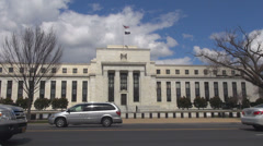 Federal Reserve building Washington DC money deposit dollar currency traffic car Stock Footage