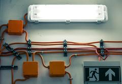 Electric junction box in underground facility Stock Photos