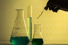 Laboratory glassware and arm with pipette Stock Illustration