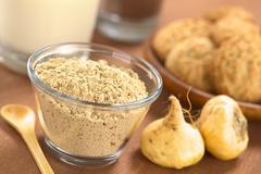 Maca powder (flour) Stock Photos