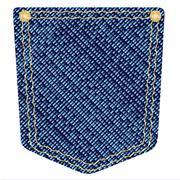 plain denim pocket - stock illustration