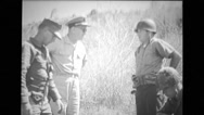 Military officer talking to soldier during training Stock Footage