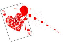 Ace of hearts with blood Stock Illustration