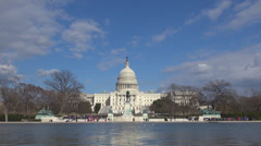 Capitol congress panorama pool reflection bird Washington DC blue sky tourism US - stock footage
