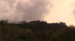 Edinburgh Castle tlapse clouds Stock Footage