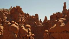Goblin Valley Utah State Park Amazing Rock Formations Panning Shot Stock Footage