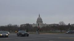 Capitol Congress building traffic car street red green light taxi Washington DC  Stock Footage