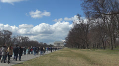 Group tourist people visit Lincoln Memorial building iconic icon landmark USA US Stock Footage