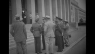 Military officers standing outside a building Stock Footage
