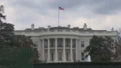 Closeup White House american flag president building facade fountain water USA  Stock Footage