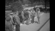 Military soldiers standing near car Stock Footage