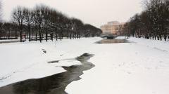 ZOOM: Frozen Moyka River, St. Petersburg Stock Footage