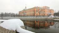 Stock Video Footage of ZOOM: Mikhailovsky Castle in Winter, St. Petersburg, Russia
