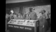 Officers at inauguration of temporary Belgium Post Office Stock Footage